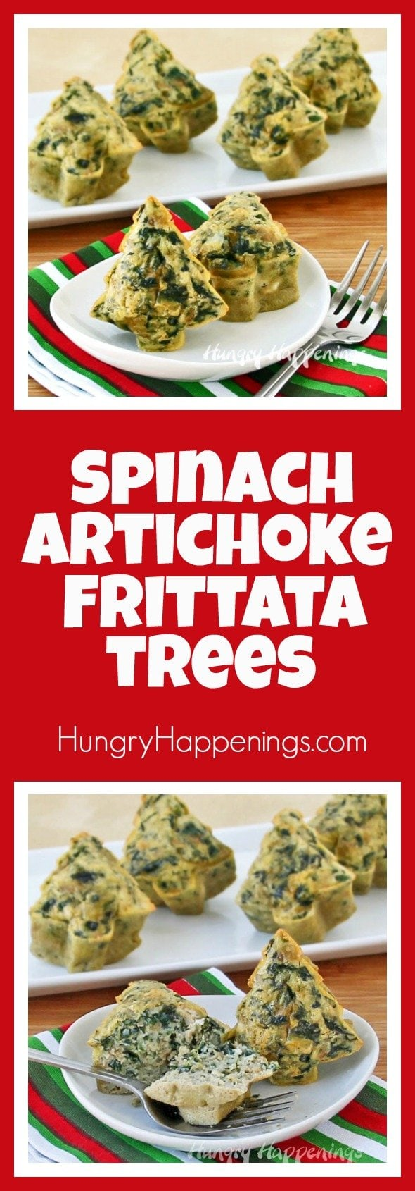 Most Christmas posts tend to be involving some kind of desserts but I wanted to involve a delicious appetizer instead! Try these Spinach Artichoke Frittata Trees and bite into some salty, gooey goodness.