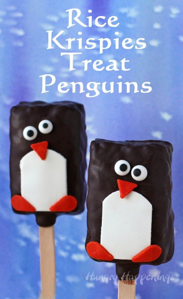 Chocolate Rice Krispie Treat Penguin Lollipops | HungryHappenings.com