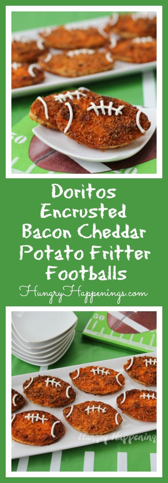 Cheese, Cheese, and more Cheese. That's what I like to hear when I come to a Super Bowl Party and these Doritos Encrusted Bacon Cheddar Potato Fritter Footballs will satisfy your every salty need.