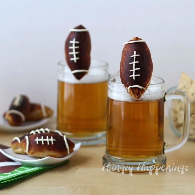 Beer Mug Cheese Stuffed Football Pretzels   HungryHappenings.com