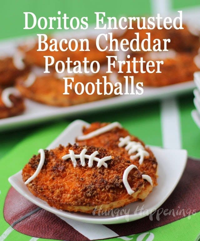 Bacon Cheddar Potato Fritter Footballs | HungryHappenings.com
