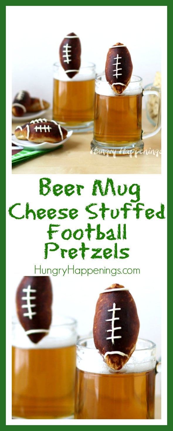 Make any beer taste even better by adding Beer Mug Cheese Stuffed Football Pretzels to it and watch as every man and woman will be so in love with their drink they won't be able to pay attention to the game.