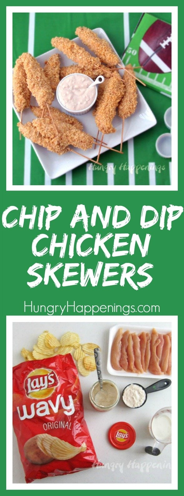 Why go through the hassle of dipping your chips in a dip and take the chance of making a mess. Instead, make these Chip and Dip Chicken Skewers and you won't just make it easier on your guests, you will create a delicious appetizer that will make everyone's mouth water.