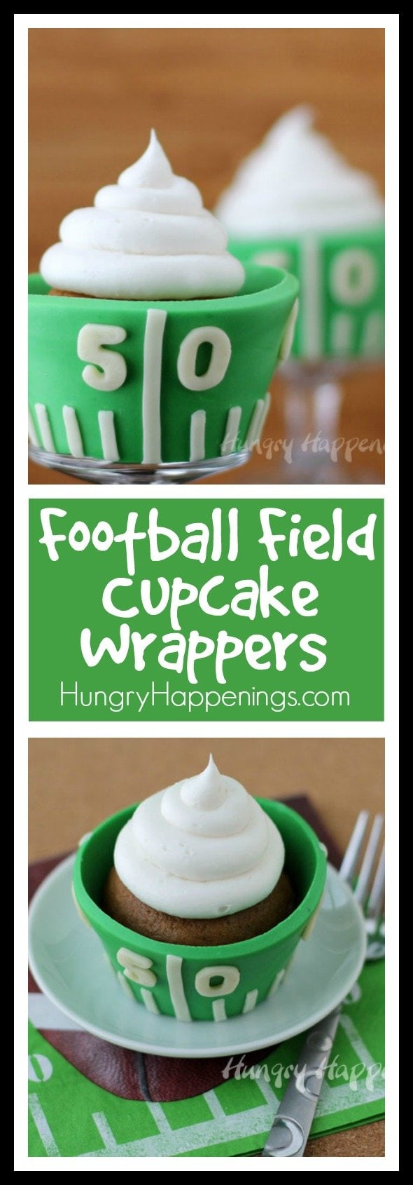 Make your football themed cupcakes completely edible by wrapping them in modeling chocolate cupcake wrappers. These Edible Football Field Cupcake Wrappers will make the perfect Super Bowl Dessert.