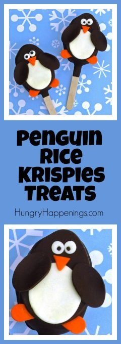 Dip some ordinary rice krispies treats into chocolate and watch them come alive! Make these Simple Chocolate Rice Krispies Treat Penguin Lollipops and you'll have people waddling from all over to eat them!