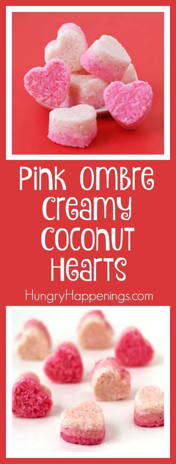 Give your taste buds a vacation with these Pink Ombre Creamy Coconut Hearts and embrace your tropical side. The colors will catch anyone's eye and they won't be disappointed when they pop one of these treats in.