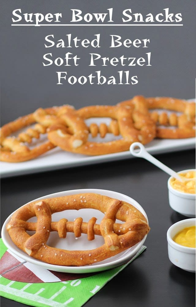 Salted Beer Pretzel Footballs | HungryHappenings.com