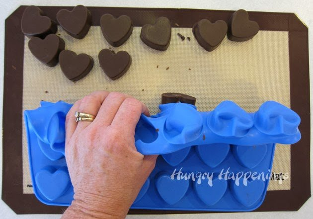 fudge in wilton silicone heart mold