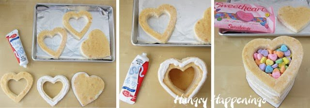 frost and stack heart-shaped cakes then fill the center of the cake with Conversation Heart candy