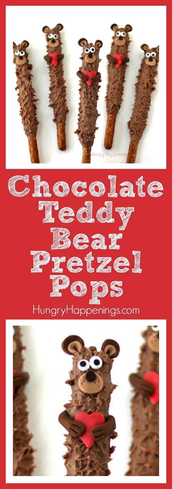 Teddy bears are a common gift that is given on Valentine's Day, but the real way to the heart is through the stomach. These Chocolate Teddy Bear Pretzel Pops are the perfect gift because they are adorable and will make your tummy happy too.