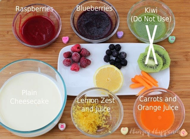 fruit and vegetable purees make naturally colored cheesecakes