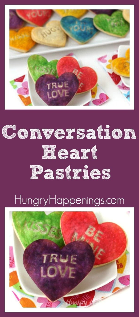 "What better way to say ""I love you"" than putting it on a soft, pillowy pastry! These Conversation Heart Pastries are adorable enough to make all your loved ones be speechless."