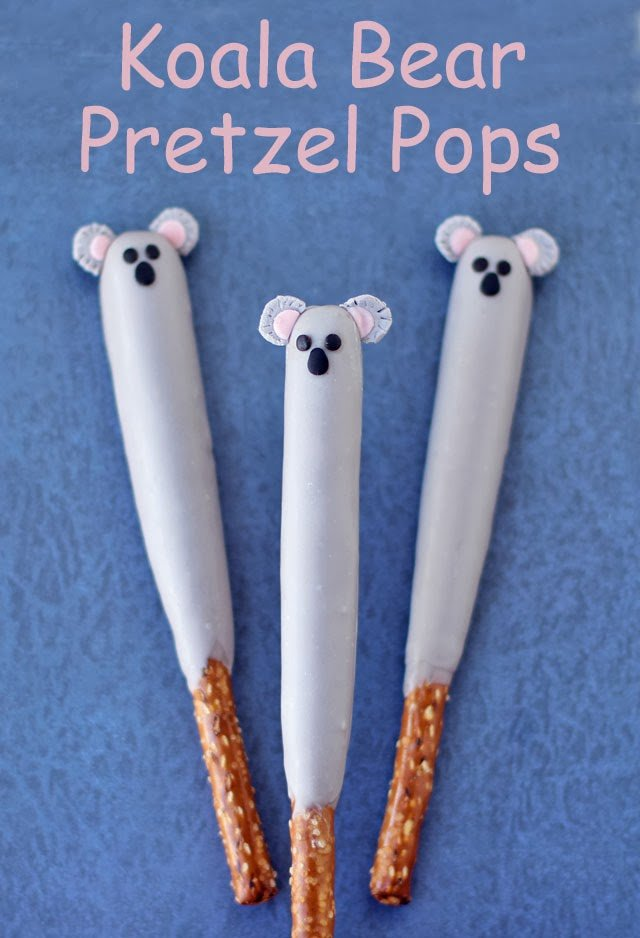Your kids will love these cute Koala Pretzel Pops. Each chocolate dipped pretzel rod is easy to decorate using modeling chocolate to look like a sweet koala bear.