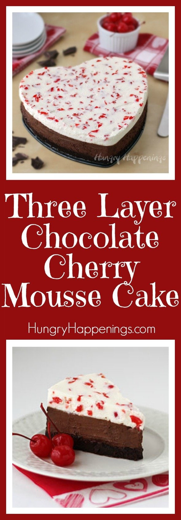 Whats better than a layer of chocolate? Three layers of chocolate! Try this Three Layer Chocolate Cherry Mousse Cake and it will fulfill all your chocolate fantasies.