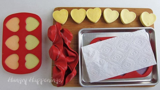 removing frozen cheesecakes from silicone heart mold