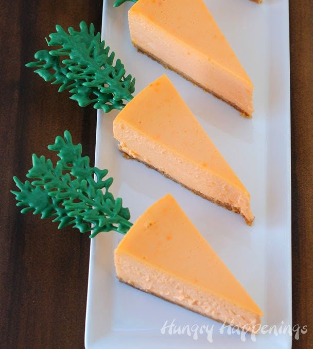 Whats a party without cheesecake?! Get festive this Easter and make these Naturally Colored Orange Cheesecake Carrots! Watch out, the Easter bunny may be stealing all of this delicious dessert!