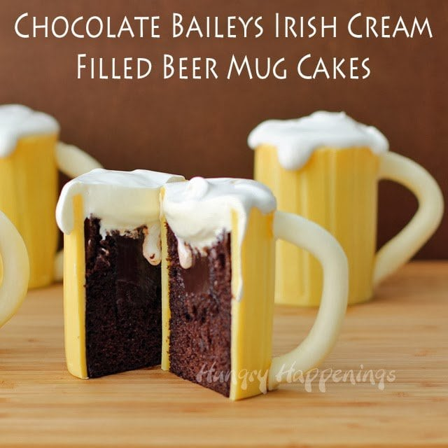 Most dads love an ice cold beer, so why not make their favorite beverage into an amazing Father's Day dessert? These Chocolate Baileys Irish Cream Filled Beer Mug Cakes are hilarious and delicious!