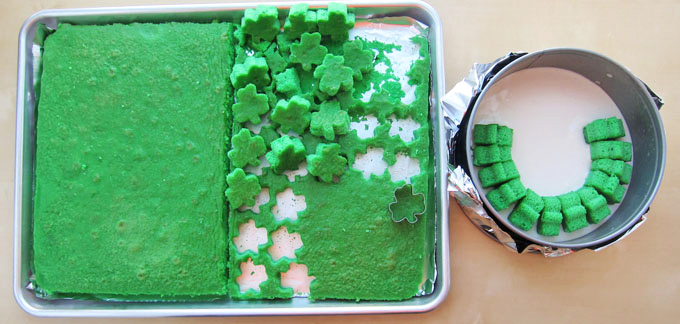 cut shamrocks out of a single layer of cake then arrange in a round pan