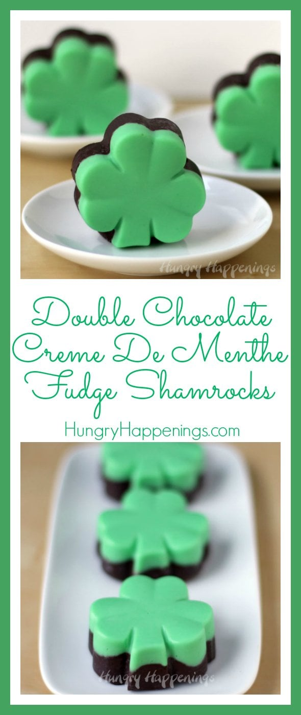 You can't go wrong by making these Double Chocolate Creme de Menthe Fudge Shamrocks for St. Patrick's Day! They are absolutely delicious and have just the right amounts of mint and chocolaty goodness.
