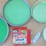 Fill round cake pans with green cake batter.