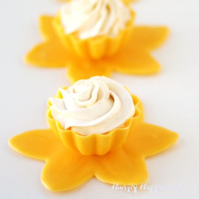 Lemon Mousse in Yellow Daffodil Chocolate Cups