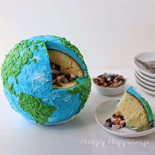Earth Cake filled with Candy Rocks | HungryHappenings.com
