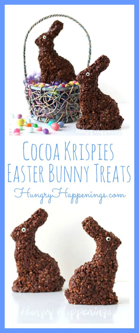 Do your kids love chocolate but never finish that gigantic bunny in their Easter Basket? This time instead of buying a bunny at the store, make your own! These Cocoa Krispies Easter Bunny Treats are so delicious and will make sure your kids don't overload on chocolate or waste what they don't eat.