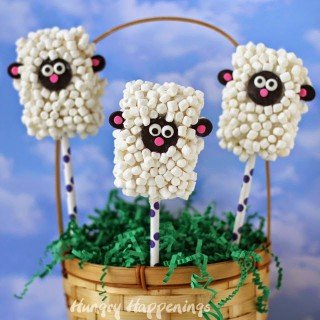 Rice Krispies Treat Lamb Pops