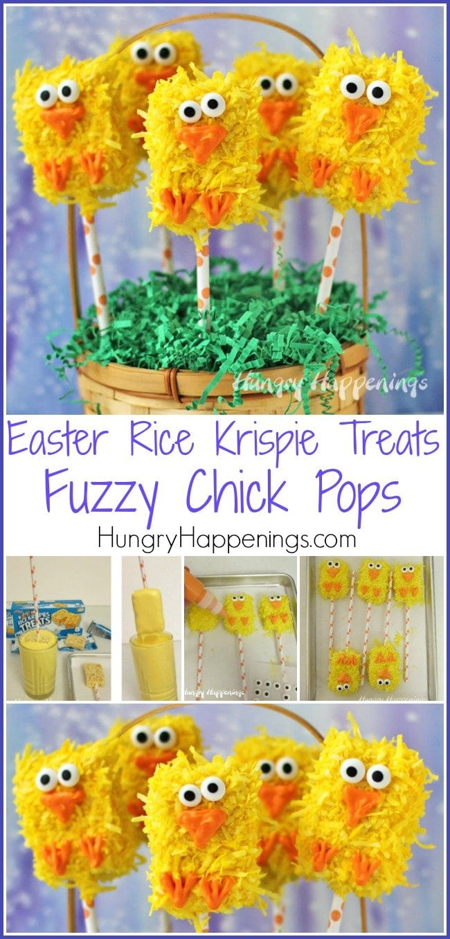 Add Easter Rice Krispie Treats to your baskets this year. Your kids will love finding these adorably cute Fuzzy Chick Pops nestled among their jelly beans and chocolate bunnies.