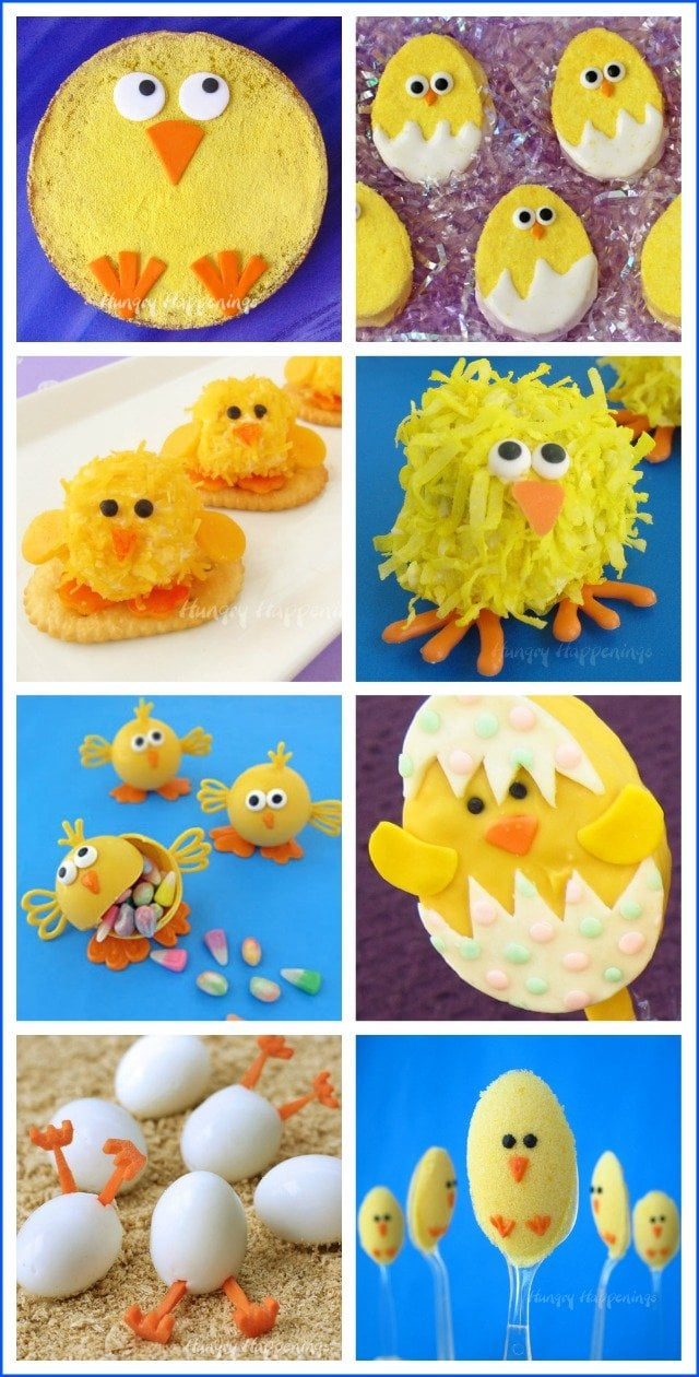 Make cute Easter treats including all these sweet little baby chicks. See the recipes and tutorials to make Cheese Ball Chicks, Rice Krispie Treat chicks and more at HungryHappenings.com.