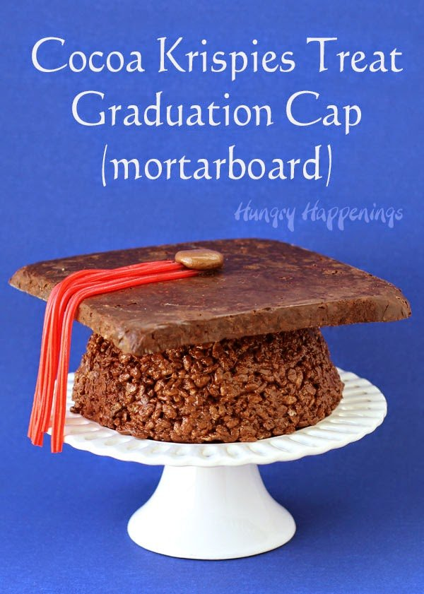 Why serve cake at your graduation party when you can have this impressive Cocoa Krispies Treat Graduation Cap instead? It's simple to make by adding melted chocolate to a traditional cereal treat recipe and forming it into a mortar board.
