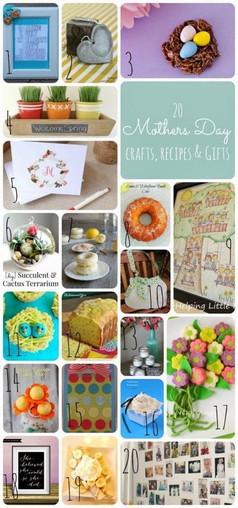 20 Mother's Day Gifts. Check out all these wonderful handmade crafts, DIY projects and recipes.