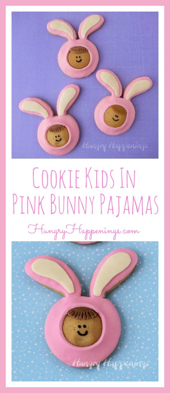 This Easter have some fun in the kitchen turning vanilla wafers and homemade sugar cookies into these cute little Cookie Kids in Pink Bunny Pajamas.