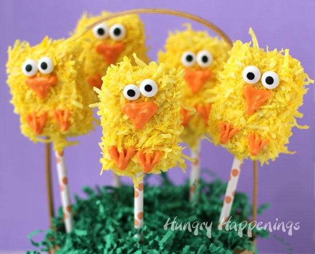 Add a touch of whimsy to your Easter baskets this year. Make Fuzzy Chick Rice Krispie Treats.