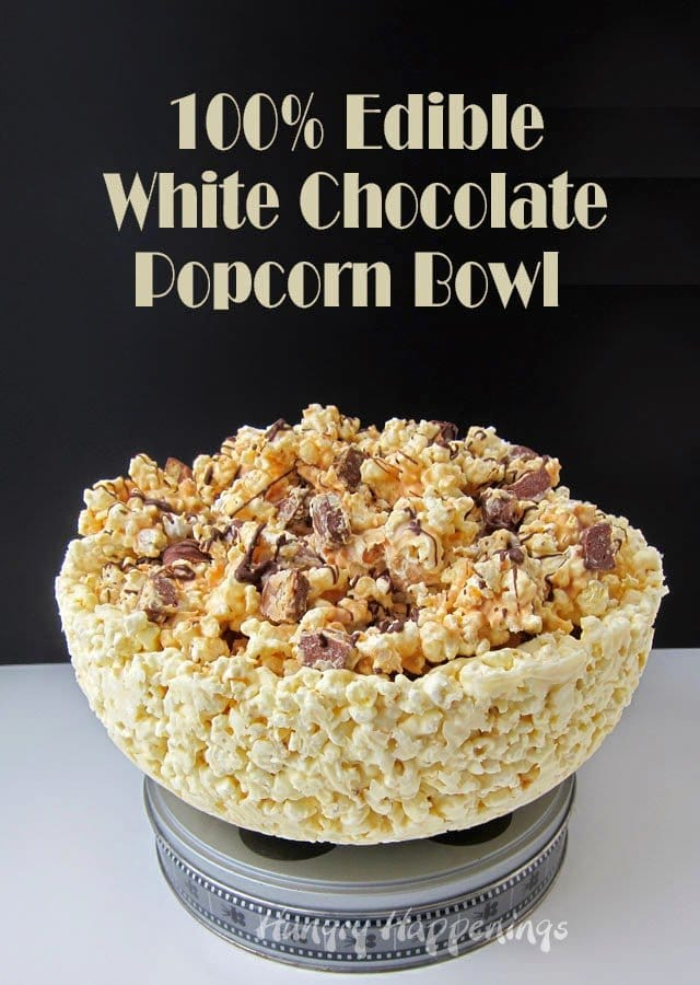 100% Edible White Chocolate Popcorn Bowl | HungryHappenings.com
