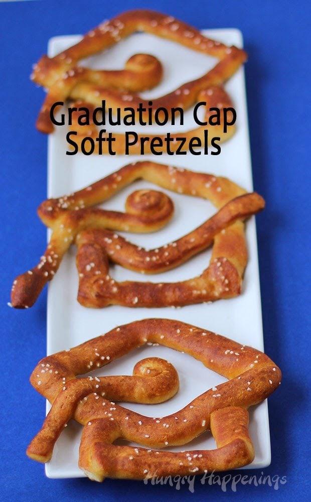 Graduation Cap Soft Pretzels | HungryHappenings.com