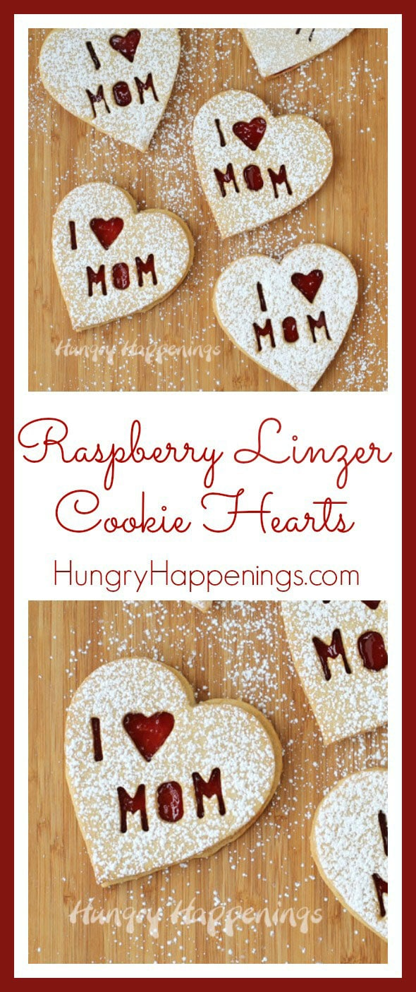 Raspberry Linzer Cookie Hearts for Mother's Day. Heart shaped almond cookies filled with raspberry jam.