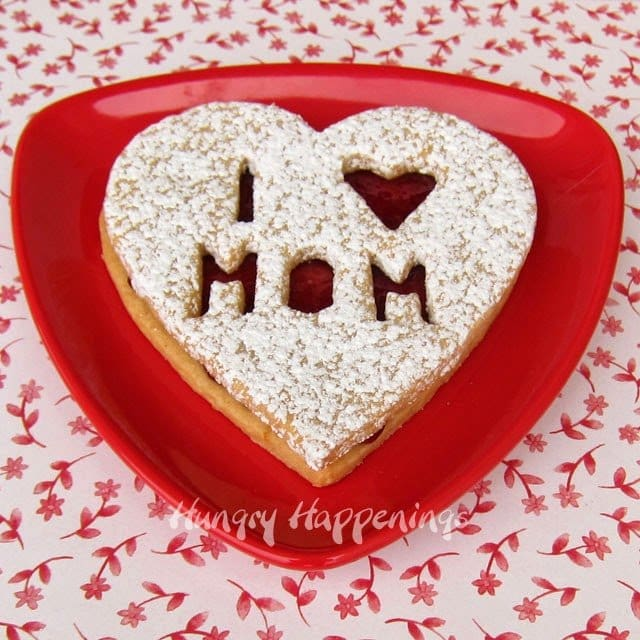 Heart Shaped Linzer Cookies for Mother's Day