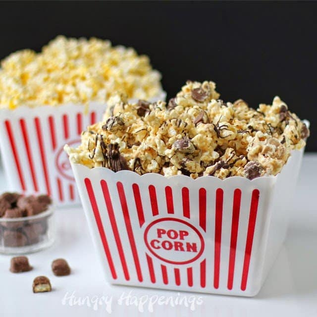 Peanut Butter Popcorn Speckled with Twix Bites | HungryHappenings.com