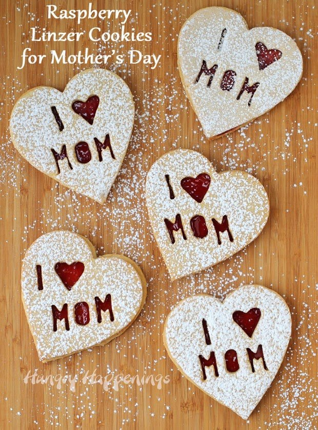 These pretty Linzer Cookies are perfect for Mother's Day.
