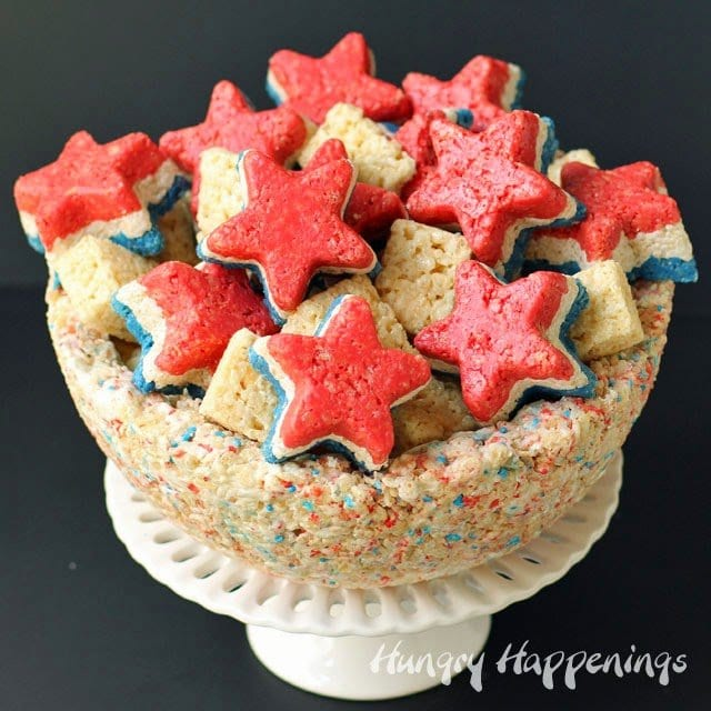 Red, White and Blue Rice Krispie Treat Stars in a Rice Krispie Treat Bowl | HungryHappenings.com