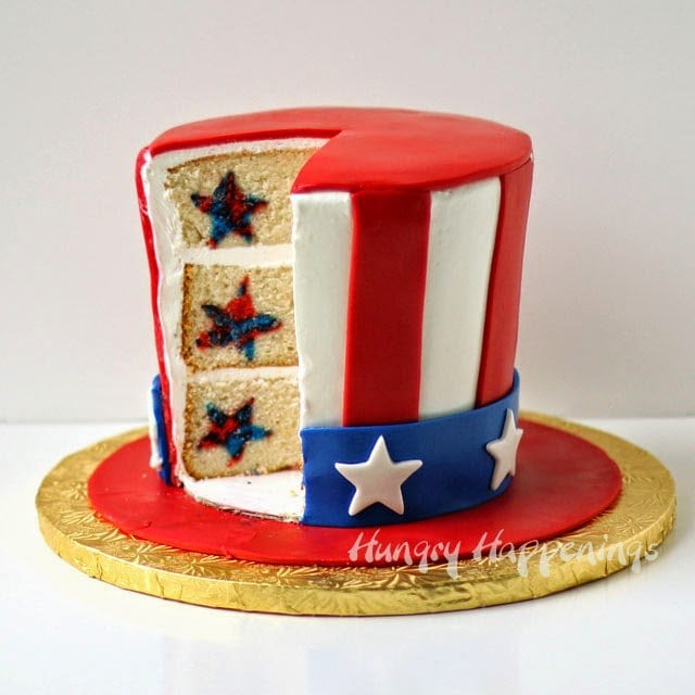 Uncle Sam Hat Surprise Cake | HungryHappenings.com