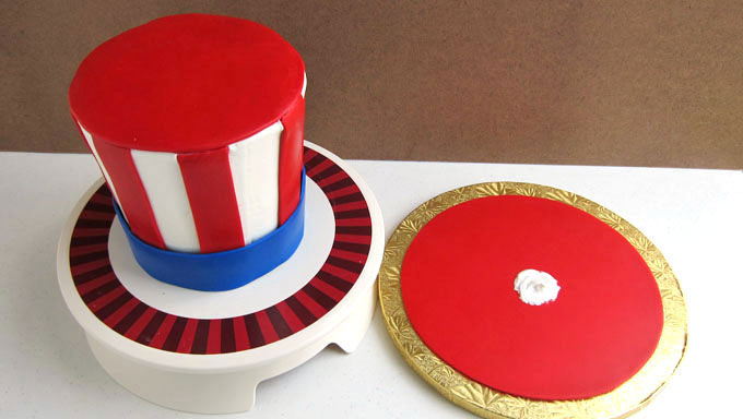 add a blue band around the bottom and a red circle on top of the Uncle Sam Hat cake