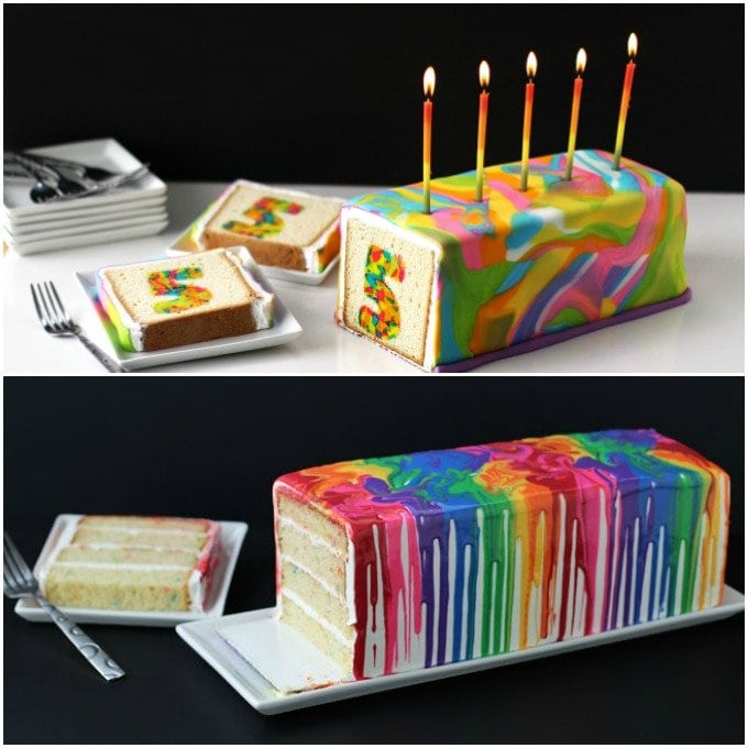 These two really festive looking rainbow cakes are perfect for birthday parties.