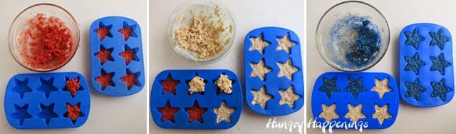 Red, white, and blue star rice krispies treat recipe from HungryHappenings.com