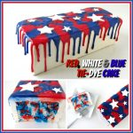 4th of July Red, White and Blue Tye-Dye Cake decorated with dripping red and blue white chocolate ganache and topped with white stars.