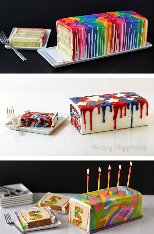 Incredible 4Th Of July Dessert Red White And Blue Tie Dye Cake Funny Birthday Cards Online Alyptdamsfinfo