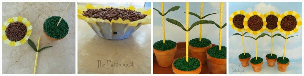 Sunflower Brownies in Ice Cream Filled Pots