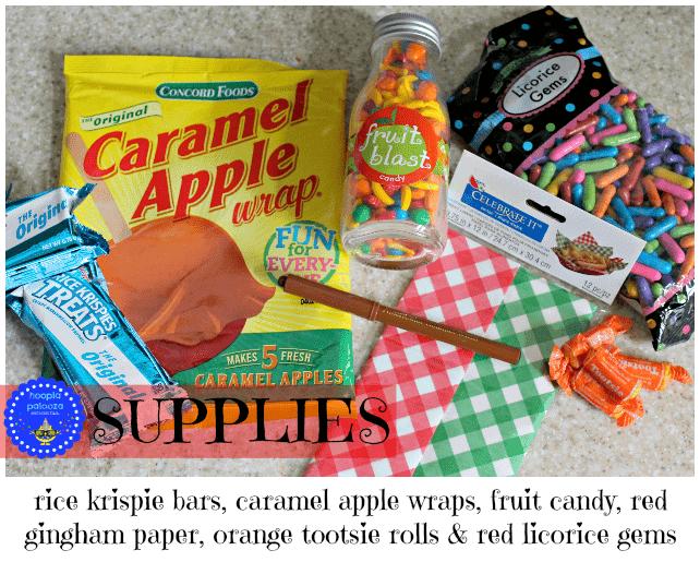 Supplies to make Rice Krispie Treat Picnic Baskets