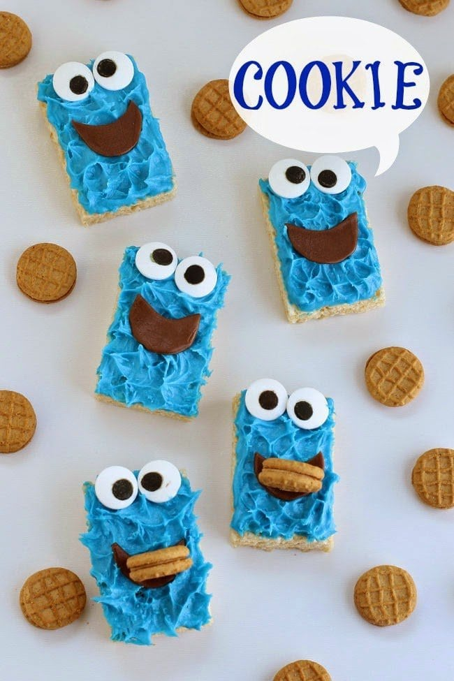 Your kids will go nuts over these adorably cute Rice Krispie Treat Cookie Monsters! They are so easy to make using store bought cereal treats.